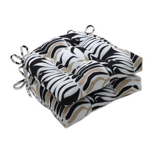 Palm Black Tan White Large Chairpad, Set of Two