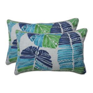 Hixon Blue Green Tan Throw Pillow, Set of Two