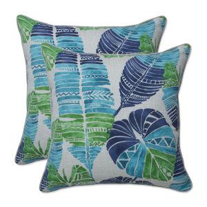Hixon Blue Green Tan 18-Inch Throw Pillow, Set of Two