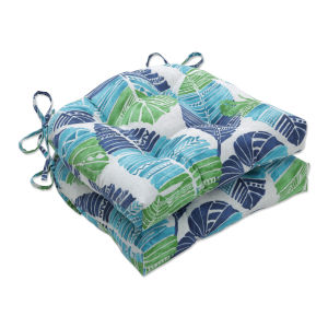 Hixon Blue Green Tan Large Chairpad, Set of Two