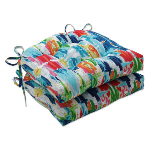 Abstract Blue Green Multicolor Large Chairpad, Set of Two