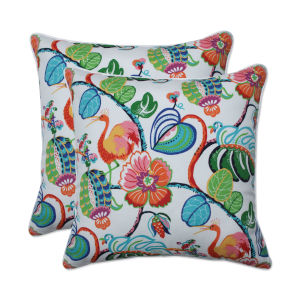Tropical Green Blue Multicolor 18-Inch Throw Pillow, Set of Two