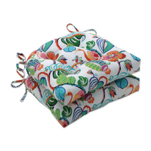 Tropical Green Blue Multicolor Large Chairpad, Set of Two
