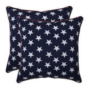 Macey Blue White 18-Inch Throw Pillow, Set of Two