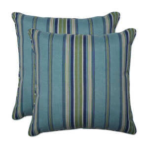 Terrace Blue Green Natural 18-Inch Throw Pillow, Set of Two