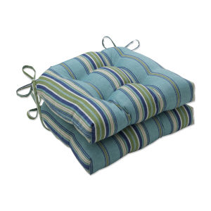 Terrace Blue Green Natural Large Chairpad, Set of Two