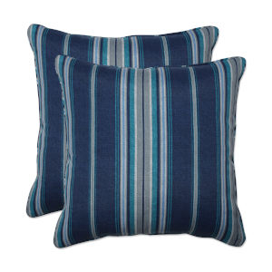Terrace Blue Gray Off-White 18-Inch Throw Pillow, Set of Two