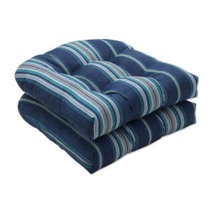 Terrace Blue Gray Off-White Seat Cushion, Set of Two