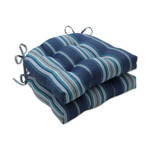 Terrace Blue Gray Off-White Large Chairpad, Set of Two