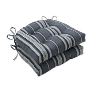 Terrace Gray Natural Off-White Large Chairpad, Set of Two