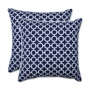 Hockley Blue White 18-Inch Throw Pillow, Set of Two