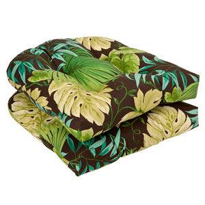 Outdoor Brown/Green Tropical Wicker Seat Cushions , Set of Two