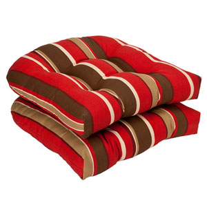 Outdoor Red/Brown Striped Wicker Seat Cushions , Set of Two