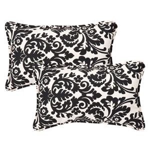 Decorative Black/Beige Damask Toss Pillows Rectangle , Set of Two