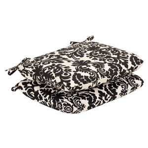 Outdoor Black/Beige Damask Seat Cushion Rounded , Set of Two
