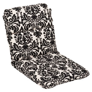 Outdoor Black/Beige Damask Chair Cushion Rounded