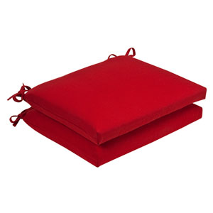 Outdoor Red Solid Seat Cushion Squared , Set of Two