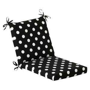 Outdoor Black/White Polka Dot Chair Cushion Squared