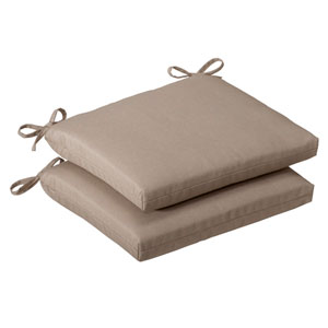 Outdoor Beige Solid Seat Cushion Squared , Set of Two