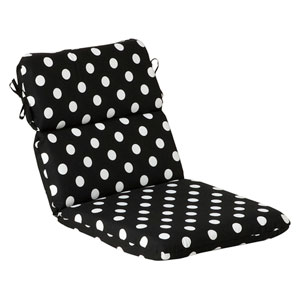 Outdoor Black/White Polka Dot Chair Cushion Rounded
