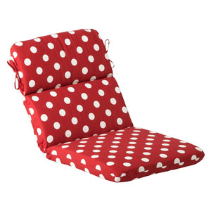 Outdoor Red/White Polka Dot Chair Cushion Rounded