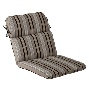 Outdoor Black/Beige Striped Chair Cushion Rounded