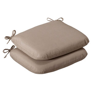 Outdoor Beige Solid Seat Cushion Rounded , Set of Two