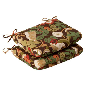 Outdoor Brown/Green Tropical Seat Cushion Rounded , Set of Two
