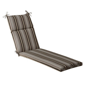 Outdoor Black/Beige Striped Chaise Lounge Cushion