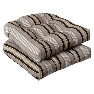 Outdoor Black/Beige Striped Wicker Seat Cushions , Set of Two