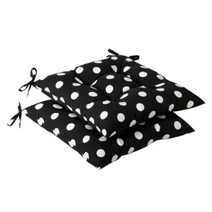 Outdoor Black/White Polka Dot Tufted Seat Cushion, Set of Two