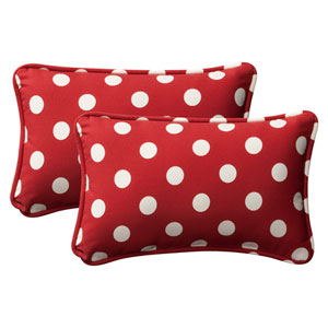 Decorative Red/White Polka Dot Toss Pillows Rectangle , Set of Two