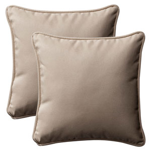 Decorative Beige Solid Toss Pillows Square , Set of Two