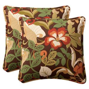 Decorative Brown/Green Tropical Toss Pillows Square , Set of Two