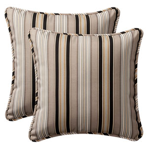 Decorative Black/Beige Striped Toss Pillows Square , Set of Two