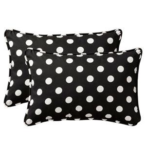 Decorative Black/White Polka Dot Toss Pillow Rectangle , Set of Two