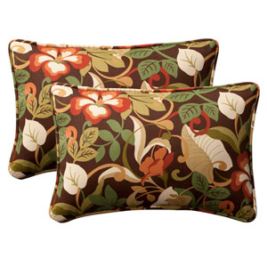 Decorative Brown/Green Tropical Toss Pillow Rectangle , Set of Two