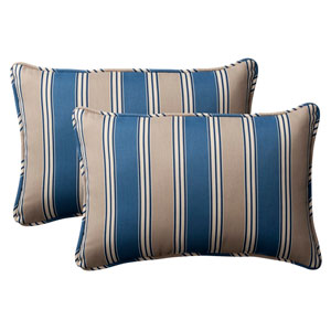 Decorative Blue/Tan Striped Toss Pillow Rectangle , Set of Two
