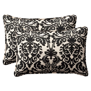 Decorative Black/Beige Damask Toss Pillow Rectangle , Set of Two