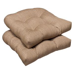 Outdoor Tan Textured Solid Sunbrella Fabric Wicker Seat Cushions , Set of Two