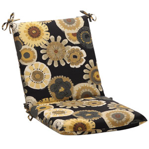 Outdoor Black/Yellow Floral Chair Cushion Squared