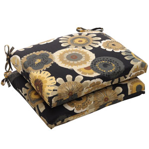 Outdoor Black/Yellow Floral Seat Cushion Squared