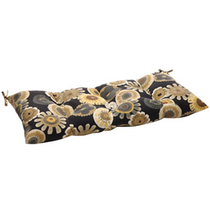 Outdoor Black/Yellow Floral Tufted Loveseat Cushion