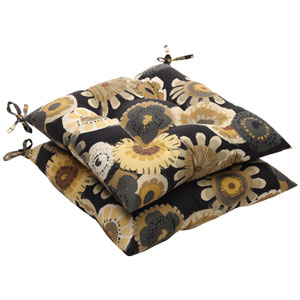 Outdoor Black/Yellow Floral Tufted Seat Cushion (Set of 2)