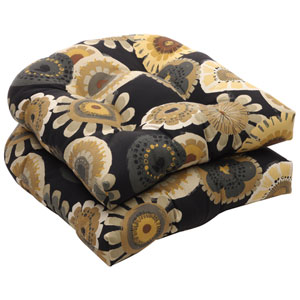 Outdoor Black/Yellow Floral Wicker Seat Cushions, Set of Two