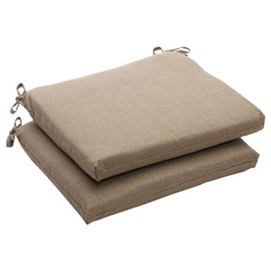 Outdoor Taupe Textured Solid Seat Cushion Squared, Set of Two