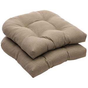 Outdoor Taupe Textured Solid Wicker Seat Cushions, Set of Two