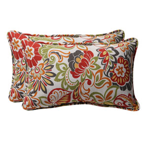 Decorative Multicolored Floral Toss Pillows Rectangle, Set of Two