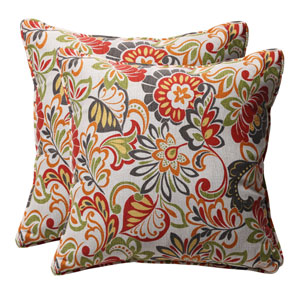 Decorative Multicolored Floral Toss Pillows Square, Set of Two