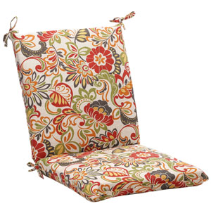 Outdoor Multicolored Floral Chair Cushion Squared